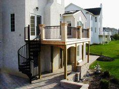 Attirant Cedar Deck With Spiral Staircase, Dublin Ohio Spiral Staircase Outdoor,  Outdoor Stairs, Spiral