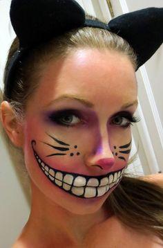 Cheshire Cat Makeup… SO creepy!!!! @ DIY Home Cuteness. I love her eye make up!