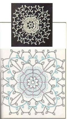 Irish Crochet Patterns, Crochet Motifs, Doily Patterns, Thread Crochet, Crochet Designs, Crochet Stitches, Motifs Granny Square, Granny Square Crochet Pattern, Crochet Diagram