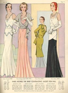 Fall 1931 featuring patterns adapted from Vionnet (5705), Maggy Rouff (5738 and 5703) and Patou (5632 and 5675) models