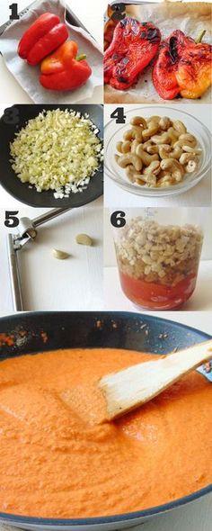Salsa de pimientos asados para pasta - Healthy Eating İdeas For Exercise Veggie Recipes, Mexican Food Recipes, Vegetarian Recipes, Real Food Recipes, Cooking Recipes, Healthy Recipes, Deli Food, Good Food, Yummy Food