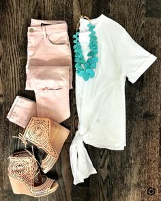 Flat Lays of the Week | white tie front tee, pink jeans, Jeffrey Campbell laser cut out wedges, turquoise necklace