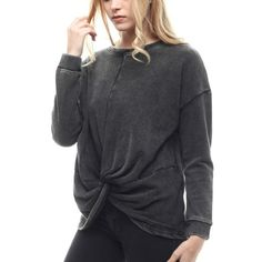 Stone Washed Knotted Long Sleeve Sweatshirt Relaxed fit --- Runs true to size --- 90% cotton 10% polyester --- Grey & black color ---  Dropped shoulders --- Medium weight knit sweatshirt--- Offers not accepted on retail items ---- Thank  you for visiting my closet Boutique Tops Sweatshirts & Hoodies