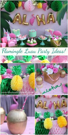 Let's Flamingle Luau Flamingos continue to be one of the funnest trends for parties. With Summer quickly approaching, a good luau is also a must! Why not combine the two and create a fabulous Flamingle Luau? LAURA'S little PARTY: Let's Flamingle Luau Moana Party, Moana Birthday Party, 13th Birthday Parties, Luau Birthday, Birthday Party Themes, Luau Theme Party, Luau Party Favors, Hawaiian Birthday, Aloha Party