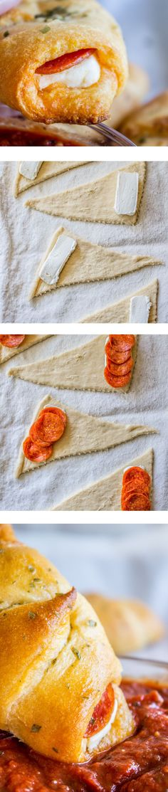 Pepperoni Cream Cheese Crescents from The Food Charlatan. This is such an easy 3-ingredient snack, back to school lunch, or game-day appetizer! It's a slab of cream cheese and some pepperoni rolled up in a crescent and baked. I made this for my kids for lunch but they only got one each because I ate the rest.