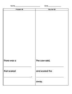 Hattie and the Fox - Mem Fox problem and solution worksheet Sentence Structure, Author Studies, Book Study, Problem And Solution, Reading Activities, Read Aloud, Phonics, Language Arts, Authors