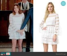 Aria's short wedding dress on Pretty Little Liars. Outfit Details: https://wornontv.net/73280/ #PLL