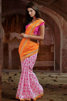 Trendy Pink, Orange Silk Printed Saree