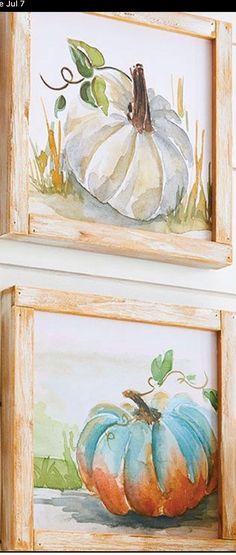 Pumpkin Canvas Painting, Autumn Painting, Autumn Art, Canvas Art, Watercolor Fruit, Watercolor Paintings, Watercolors, Pallet Wall Art, Pumpkin Art