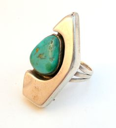Modernist silver & turquoise ring by Will Denet-Dale Navajo artisan