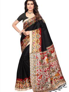 6a4462ae8e Black Khadi Silk Printed Saree With Fancy Tassels #Khadi #Silk #Printed # Saree