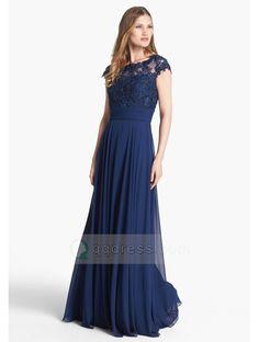 Buy A-line Cap Sleeves Bateau Appliqued Zipper Back Chiffon Floor-length Dress - QQdress.com
