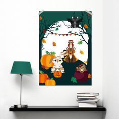 Poster Woodland Halloween A3, the cutest Halloween poster you'll ever see with animals dressed up as a mummy, superhero or witch for halloween designed by Oktoberdots