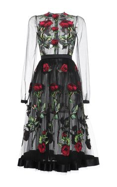 Rose Embroidered Full Skirt Tulle Dress by Dolce & Gabbana for Preorder on Moda Operandi