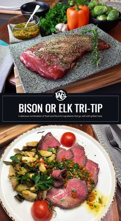 Explosive flavor in every slice Whether you choose to serve up Bison Tri-Tip or an Elk Tri-Tip for dinner, my bell pepper chimichurri recipe is the perfect condiment for both grilled meats. It's made with simple everyday ingredients including finely chopped red bell pepper, flat leaf parsley, minced garlic, olive oil, hints of fresh lemon and a pinch of salt. Elk Recipes, Wild Game Recipes, Tri Tip, Chimichurri, Seasoning Mixes, Grilled Meat, Venison, Bell Pepper, Parsley