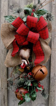 SALE Woodland Christmas Holiday Teardrop Swag by NewEnglandWreath, $99.00