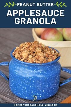 Homemade applesauce peanut butter granola is a simple and crunchy breakfast cereal that is naturally sweetened with maple syrup for a wholesome treat. Homemade Breakfast, Healthy Breakfast Recipes, Brunch Recipes, Fall Recipes, Real Food Recipes, Snack Recipes, Breakfast Ideas, Breakfast Buffet, Apple Recipes