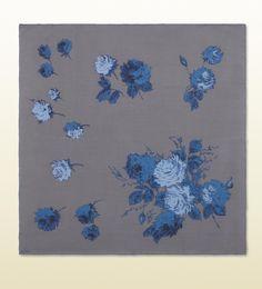 antique flower print scarf