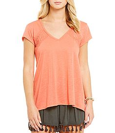 Coco  Jaimeson Lace Inset VNeck Tee #Dillards