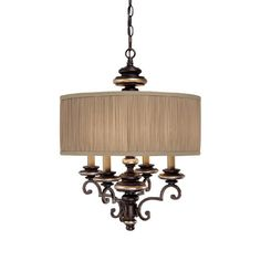 Four Light Champagne Bronze Drum Shade Chandelier : 3884CZ-445 | Tallahassee Lighting, Fan & Blind