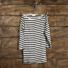 Small Trades > Simple Boatneck 3 Quarter Sleeve Tee Navy Natural Stripe ($50-100) - Svpply