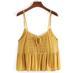 Spaghetti Strap Lace Insert Ruffle Hem Cami Top ($12) ❤ liked on Polyvore featuring tops, yellow, brown tank top, spaghetti strap cami, camisole tank, yellow tank top and brown tops