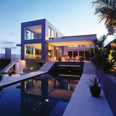 Modern house on the water
