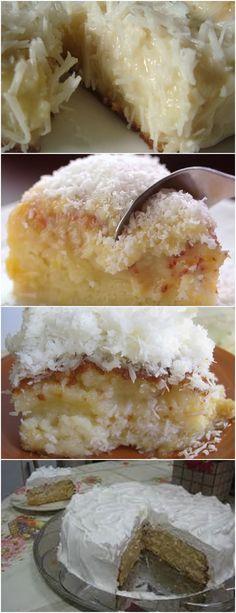 BOLO MOLHADINHO COM CALDA DE LEITE E COCO  Em um liquidificador adicione os ovos, o açúcar, a água e o óleo. 2. Bata por 2 minutos. #receitas#bolo#doce#sobremesa#aniversario#pudim#mousse#pave#cheesecake#chocolate#confeitaria