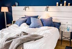 bygga sänggavel #DIY #Inredning #Sovrum #Inspiration #sänggavel #Blått #Vitt