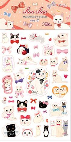 Kawaii Choo-Choo Cat Bubble Stickers