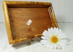 Vintage Bamboo Woven Tray  Retro Natural Wood by DivineOrders, $13.00