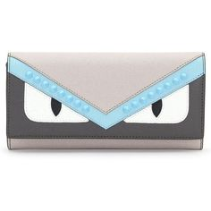 Women's Fendi Monster Leather Continental Wallet ($600) ❤ liked on Polyvore featuring bags, wallets, grey multi, leather shopper, fendi wallet, fendi bags, continental wallet and real leather wallets