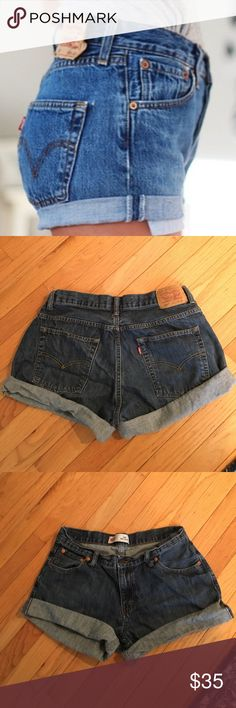 """Levi cutoffs Super cute vintage Levi cutoffs. high waisted. Will add rips if requested once purchased. Measurements: waist- 32"""", rise-9.5"""", inseam- 3"""". Fit like a modern size 6 Levi's Shorts Jean Shorts"""