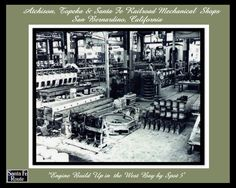 """Inside the Santa Fe Mechanical Shops San Bernardino, Ca. in the 1950's """"Engine Buildup West Bay"""" by antiquerails1 on Etsy"""