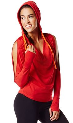 ZUMBA® Cold Shoulder Hoodie Samba Red Hoodie Shirt Fr.Convention Top Racerback  #ZUMBA #ShirtsTops