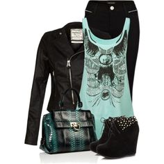 mint w/ black design flowy tank, black skinnies, black leather moto jacket, black wedge booties, black/teal bag