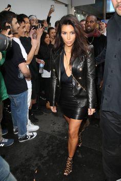 Kim Kardashian's leather look is so fierce.