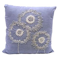 Natural Dandelion Embroidered Cushion | Dunelm