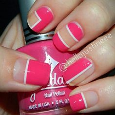 Cutout / negative space geometric nail art design in bright pink with white details (by hellojustineee)
