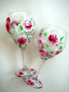 Hand Painted Wine Glasses with Roses by SoundsOfSavanah on Etsy, $18.00
