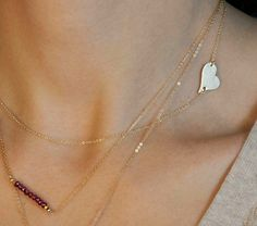 Side Heart Necklace // Personalized Gold or by LayeredAndLong  $29.00