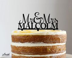CUSTOM MR & MRS acrylic cake topper  Black or by LavishLaserDesign