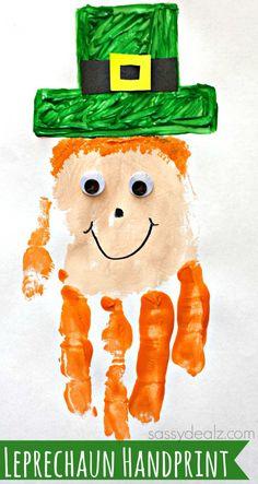 Leprechaun Handprint St.Patrick's CraftMaterials:orange/green/tan colored paint, googly eyes, a black sharpie, black/yellow paper, scissors, and glue!
