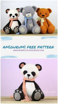 Crochet Hooks, Knit Crochet, Folded Arms, Panda Eyes, Knitting Needles, Double Crochet, Color Change, Free Pattern, Bears