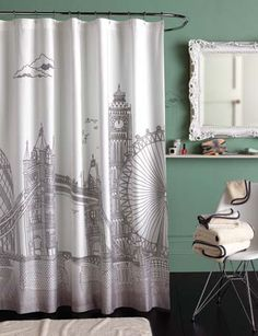 Blissliving Home London Shower Curtain - - Shower Curtains & Accessories - Bed & Bath British Decor, Modern Shower Curtains, Contemporary Shower, Dream Apartment, Apartment Ideas, My New Room, Decoration, My Dream Home, Mid-century Modern