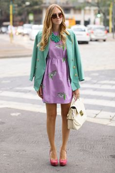 #fashion #fashionista Chiara verde viola Milan fashionweek: day 4 | The Blonde Salad