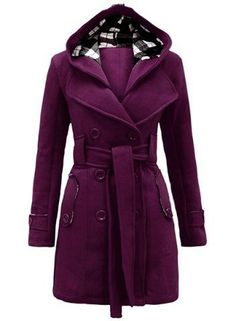 Stylish Hooded Double-Breasted Long Sleeve Worsted Coat For WomenCoats | RoseGal.com