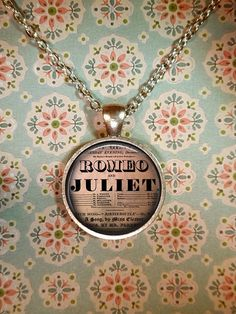 Romeo and Juliet Necklace, Shakespeare, Vintage Pendant, Love Necklace, Valentines Day, Steampunk T621 via Etsy