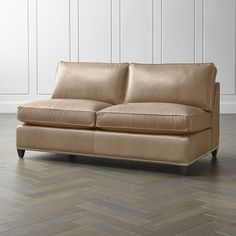Dryden Leather Armless Loveseat with Nailheads Leather Loveseat, Modern Sectional, Sofa, Couch, Engineered Hardwood, Crate And Barrel, Seat Cushions, Crates, Love Seat