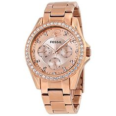 Fossil Womens ES2811 Riley Rose GoldTone Stainless Steel Watch with Link Bracelet >>> Continue to the product at the image link. Note: It's an affiliate link to Amazon